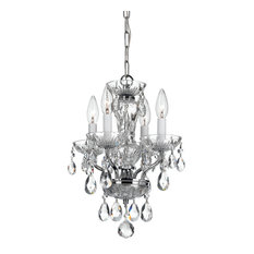 Crystorama Traditional Italian Crystal 4-Light White Mini Chandelier, Finish: Ch