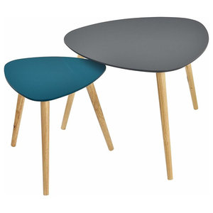 Modern Stylish Coffee Tables, Painted MDF Top, Set of 2, Grey/Turquoise