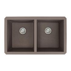 """Radius 31.75""""x19.125""""x9.5"""" Granite Double Undermount Kitchen Sink, Espresso"""