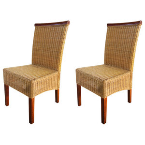 vidaXL Rattan Dining Chairs With Trim, Brown, Set of 2