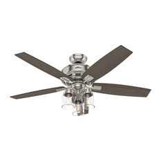 """Hunter Fan Company Bennett Brushed Nickel Ceiling Fan With Light and Remote, 52"""""""