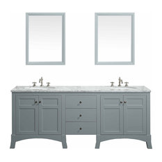 New York Vanity With Carrera Marble Counter Top and Sink, Gray, 72""