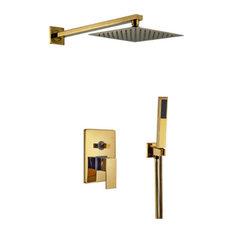 """Fontana Brass Gold Tone Shower Set, 10"""""""