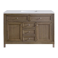"Chicago 48"" Whitewashed Walnut Single Vanity w/ 3cm Arctic Fall Top"