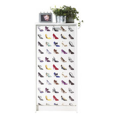 Shoe Cabinet With Adjustable Shelves, White Body, Colourful Shoes