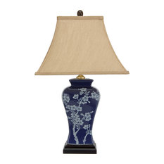 """23"""" Cherry Blossoms Blue Porcelain Jar Lamp"""