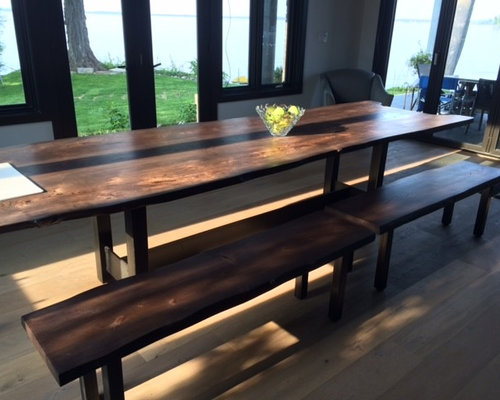 Live Edge Stained Ash Table & Benches