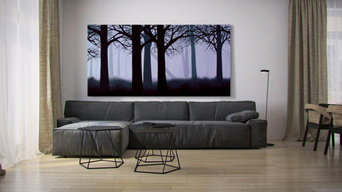 "Tanner's ""Lavender Forest"" gilcée in a minimal modern living room setting."
