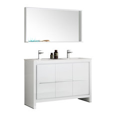 Allier 48-inch White Double Sink Bathroom Vanity And Mirror