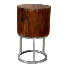 Deep Mango Wood Stool/Table Sanders With Round Silver Stand