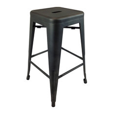 Metal Bar Stools Set Of 4 Black