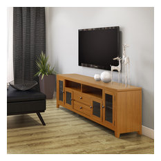 Cosmopolitan Solid Wood 72-inch TV Media Stand For TVs Up To 80-inch Light Golden Brown