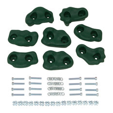 Swing Set Small Textured Rock Holds With Mounting Hardware, Set of 8, Green