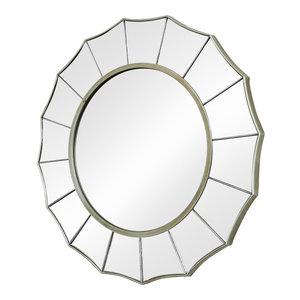 Large Silver Sunburst Art Deco Wall Mirror 61cm x 61cm