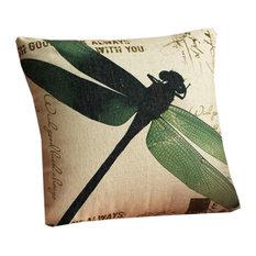 Dragonfly Zippered Decorative Throw Pillow Cushion Case, 44x44 cm