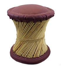 Natural Geo Moray Faux Leather/Reed Decorative Cushioned Accent Stool, Maroon