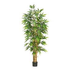 6 ft. Belly Bamboo Silk Tree in Green