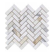 Calacatta Gold 1x3 Marble Herringbone Mosaic Tile, Honed, Marble From Italy