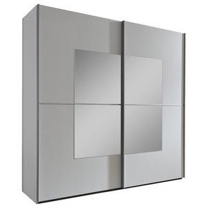 Valencia White Wardrobe with Square Mirror