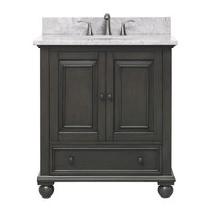 "Thompson 31"" Vanity Combo, Charcoal Glaze Finish, Top: Carrera White"