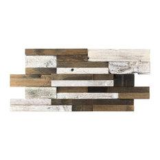 """Timber 11.81""""x23.62"""" Wood Mosaic Tile, Brown/Yellow/Orange"""