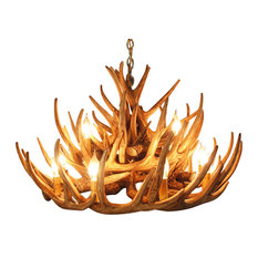 Rustic Chandeliers: Muskoka Lifestyle Products - Faux Rustic Whitetail Antler Chandelier, 12  Lights - Chandeliers,Lighting