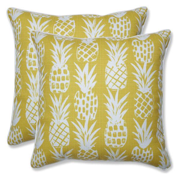 Outdoor/Indoor Pineapple Pineapple 18.5-inch Throw Pillow, Set of 2