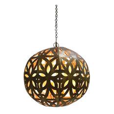 Dark Gold Floral Cutout Pendant Light, Round Globe Sphere Chandelier