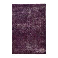 Vintage Hand-Knotted Plain Purple Area Rug, 322x240 cm