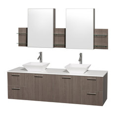 "Amare 72"" Gray Oak Double Vanity With White Man-Made Stone Top and Cabinet"