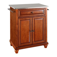 Pemberly Row Stainless Steel Top Cherry Kitchen Island