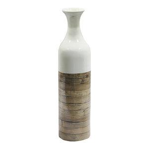 Black with Brown Heather Ann Creations Jessa 29 in Spun Bamboo Floor Vase