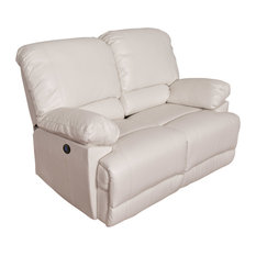 CorLiving White Bonded Leather Power Reclining Loveseat
