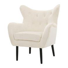 GDF Studio Kotop Light Gray New Velvet Wingback Arm Chair, Ivory