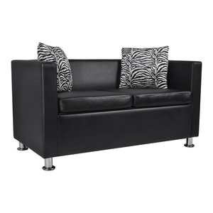 Magnificent Vidaxl Sofa 3 Seater Black Artificial Leather Living Room Pabps2019 Chair Design Images Pabps2019Com