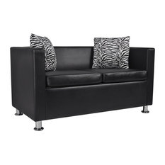 VidaXL   Artificial Leather 2 Seater Sofa Black   Sofas