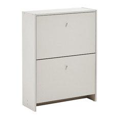 2 Pull-Down Drawer Hallway 8 Pair Shoe Storage Cabinet