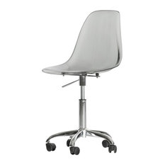 South Shore Furniture   South Shore Annexe Clear Acrylic Office Chair With  Wheels, Smoked Gray
