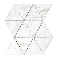 "Nature Birchwood White 12""x11.625"" Wood Look Glass Triangle Mosaic, Set of 10"