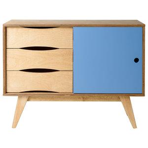 SoSixties Sideboard, Oak and Light Blue, Small