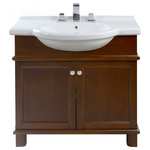 """Icera - Nouveau 34"""" Vanity Cabinet and Lavatory Top, Walnut Brown/White - Furniture-style, Solid hardwood construction"""