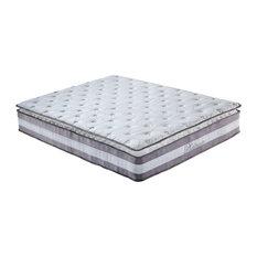 "Divano Roma Furniture - 13"" Plush Pillow Top Hybrid Memory Foam and Spring Mattress, Queen - Mattresses"