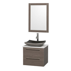 """Amare 24"""" Bathroom Vanity Set Black Granite Sink, Grey Oak, White Stone Top"""