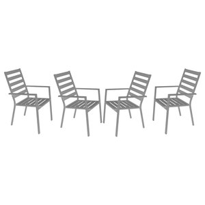 Outdoor Dining Chairs, Set of 4, Silver