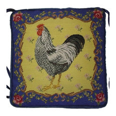 Rooster Chair Pad, Gross Point Blue and Yellow