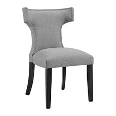 Curve Upholstered Fabric Dining Chair, Light Gray