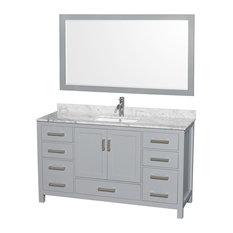 "Sheffield 60"" Gray Vanity, 58"" Gray Mirror, Square, White Carrera Marble"