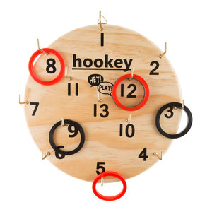 Hookey Ring Toss Game Set for Outdoor or Indoor Play, Safe Alternative to Darts