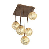 Country Ceiling Lamp 5 Brown-Rust - Kreta