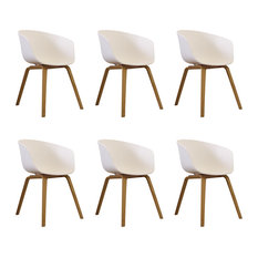 Danish Style Dining Arm Chair, Natural Legs, Black, Set of 6, White